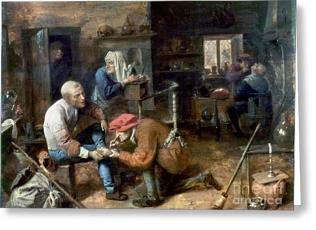 Medicine Man Greeting Cards - Village Barber-surgeon Greeting Card by Granger