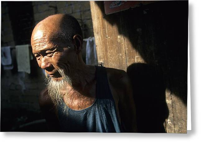 Doors And Doorways Greeting Cards - Village Elder At Doorway, Yangdi Greeting Card by Raymond Gehman