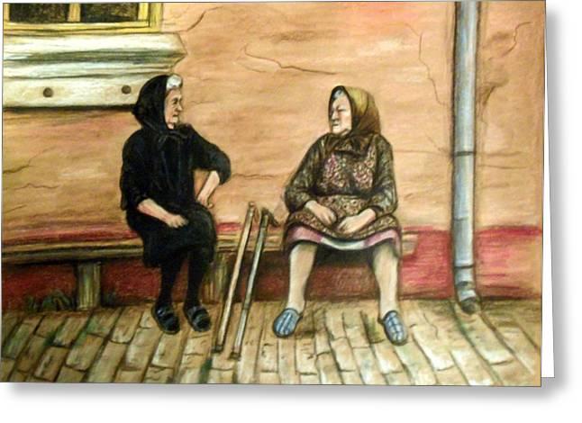 Village Gossip Greeting Card by Linda Nielsen