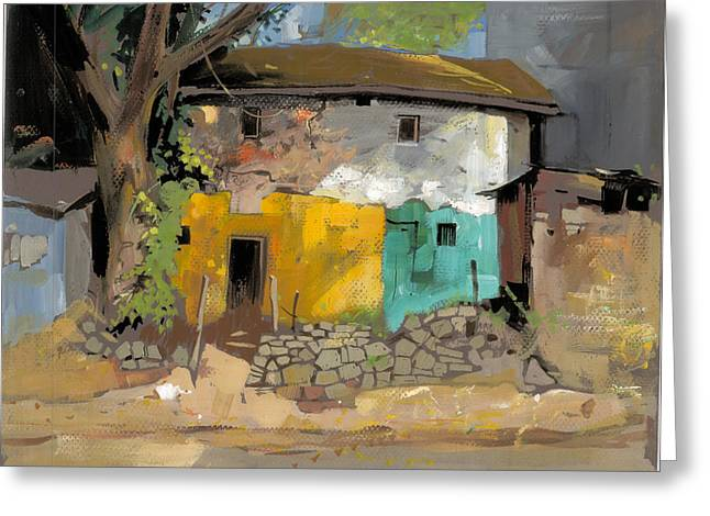 Park Scene Drawings Greeting Cards - Village House 1 Greeting Card by Milind Mulick