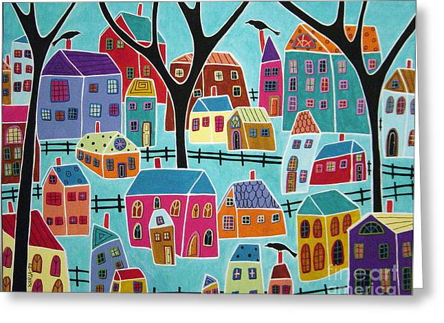 House Greeting Cards - Village Houses Trees And Birds Greeting Card by Karla Gerard