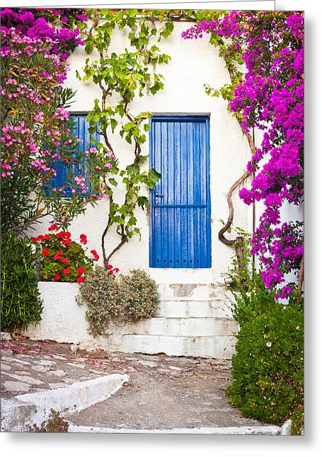 Charming Town Greeting Cards - Village in Greece Greeting Card by Tom Gowanlock