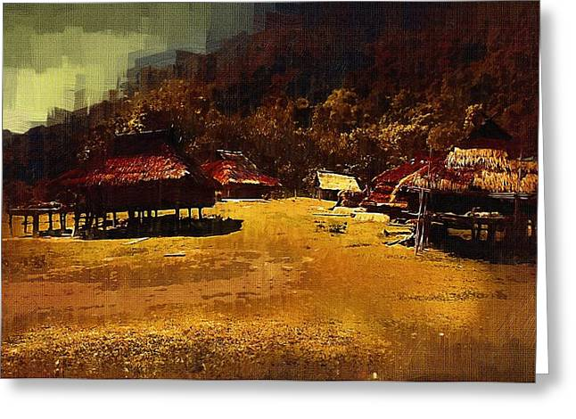 Bamboo House Greeting Cards - Village in Northern Burma Greeting Card by Fran Woods