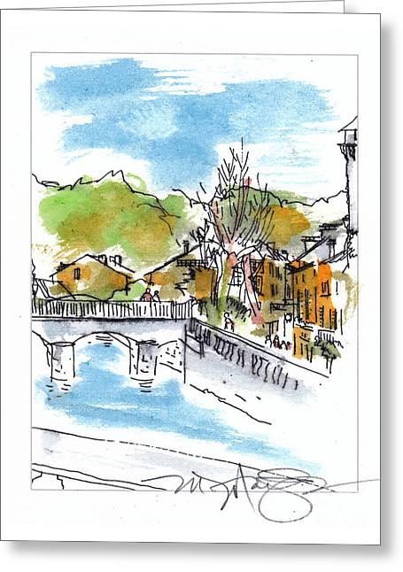 Summer Scene Drawings Greeting Cards - Village in SW France Greeting Card by Marilyn MacGregor