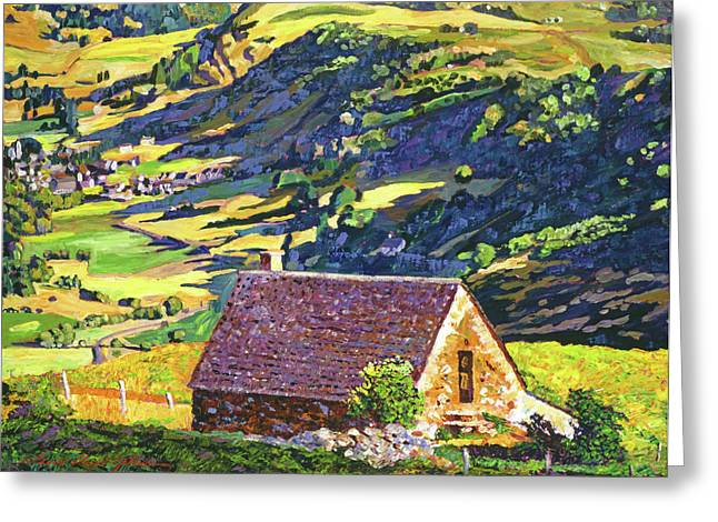 Featured Paintings Greeting Cards - Village In The Valley Greeting Card by David Lloyd Glover