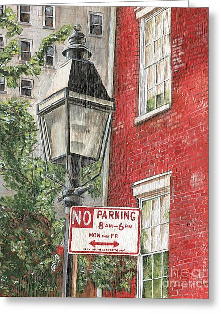 Street Lights Greeting Cards - Village Lamplight Greeting Card by Debbie DeWitt