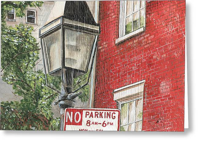 Village Lamplight Greeting Card by Debbie DeWitt