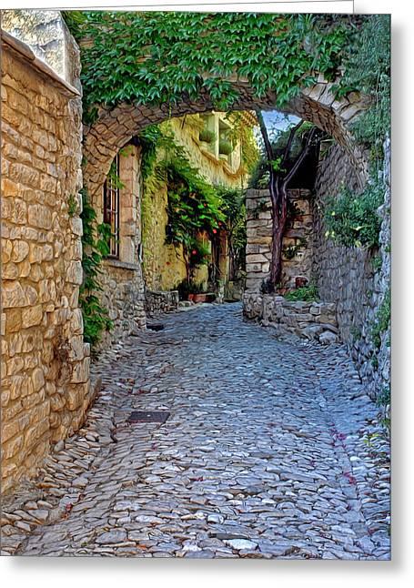 Provence Village Greeting Cards - Village Lane Provence France Greeting Card by Dave Mills