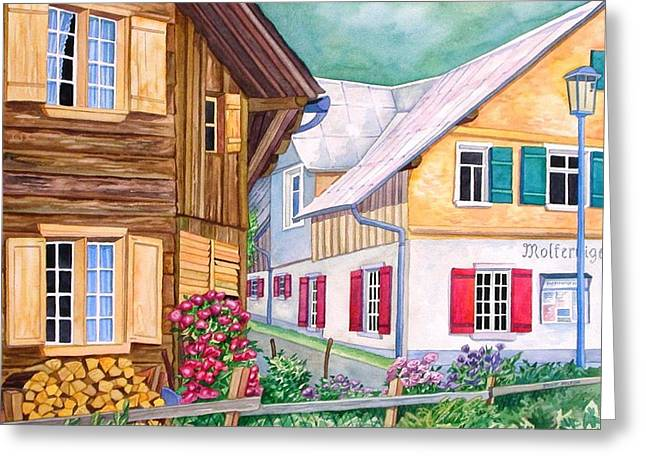 Scott Nelson Paintings Greeting Cards - Village of Au 1 Greeting Card by Scott Nelson