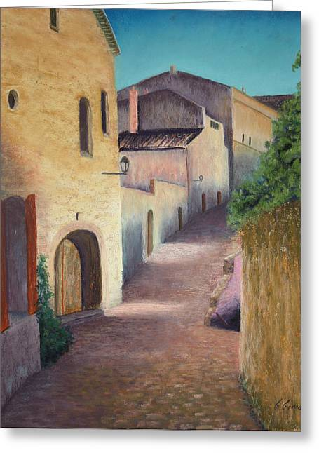 Provence Village Pastels Greeting Cards - Village of Baux Greeting Card by Carol Conrad