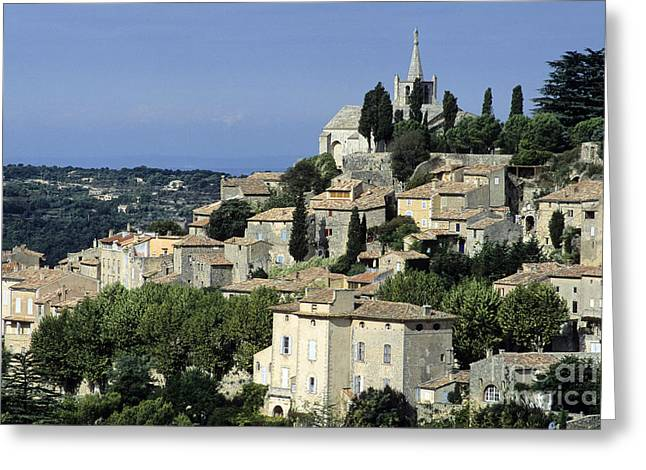 The Tourist Trade Greeting Cards - Village of Bonnieux. Provence Greeting Card by Bernard Jaubert