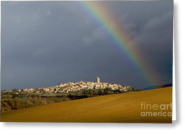 Overcast Day Greeting Cards - Village of Montpeyroux. Auvergne. France Greeting Card by Bernard Jaubert