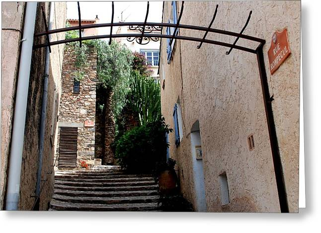 Provence Village Greeting Cards - Village steps Greeting Card by Dany  Lison