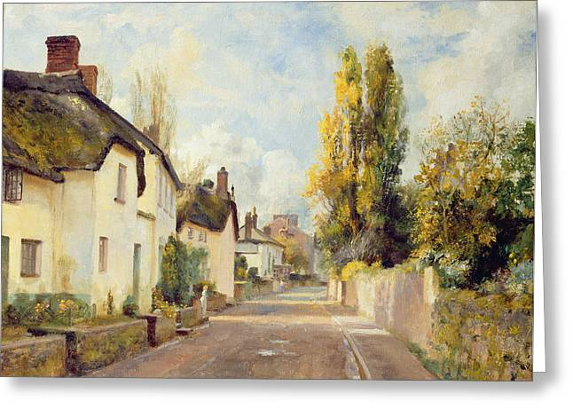 Thatched Greeting Cards - Village Street Scene Greeting Card by Charles James Fox