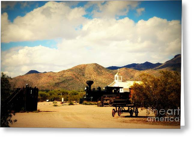 The South Photographs Greeting Cards - Village View of Old Tuscon Arizona Greeting Card by Susanne Van Hulst
