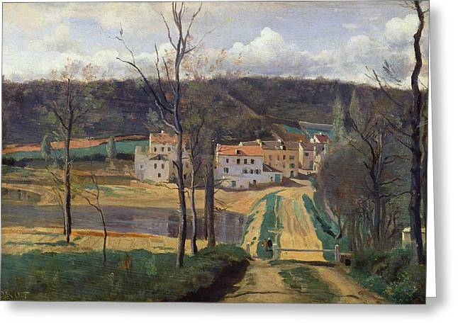 Country Cottage Greeting Cards - Ville dAvray Greeting Card by Jean Baptiste Camille Corot