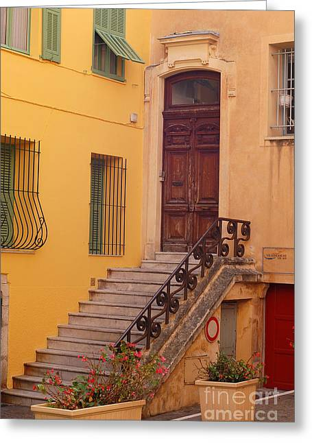 Villefranche Greeting Cards - Villefranche France Steps Greeting Card by Eva Kaufman
