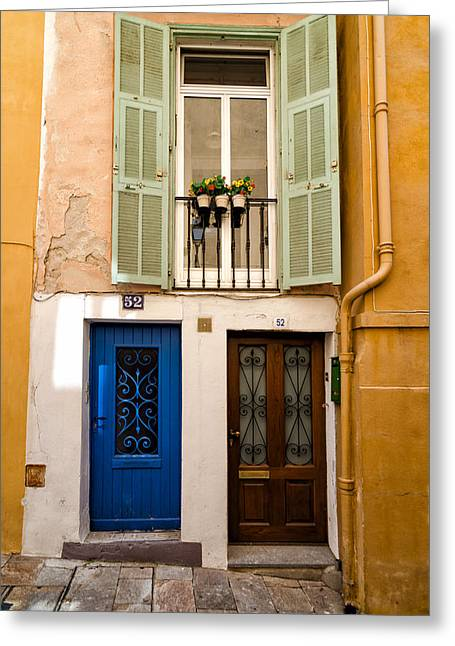 French Door Mixed Media Greeting Cards - Villefranche-sur-mer Greeting Card by Mustafa Otyakmaz