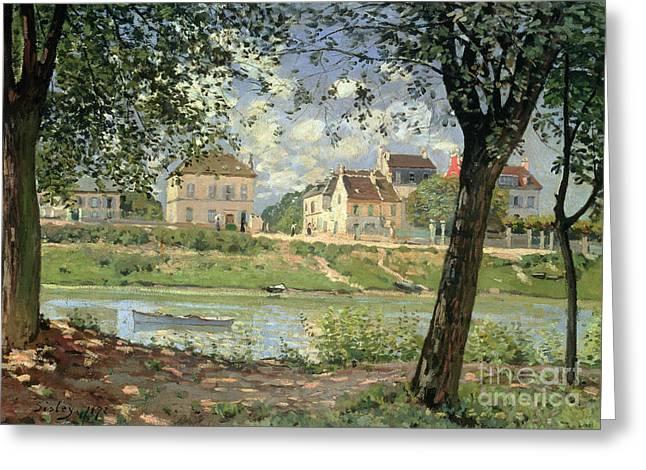 Maison Greeting Cards - Villeneuve la Garenne Greeting Card by Alfred Sisley