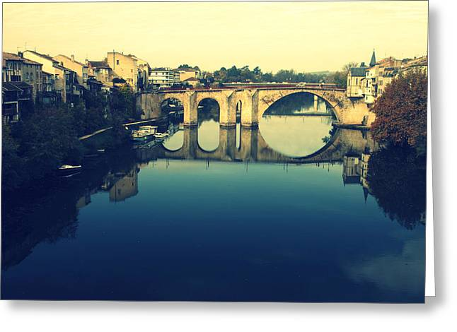 """south West France"" Greeting Cards - Villeneuve sur Lots River Greeting Card by Nomad Art And  Design"