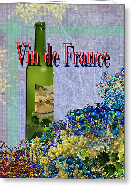 Toasting Digital Art Greeting Cards - Vin de France #1 of 4 Greeting Card by Tony Marquez