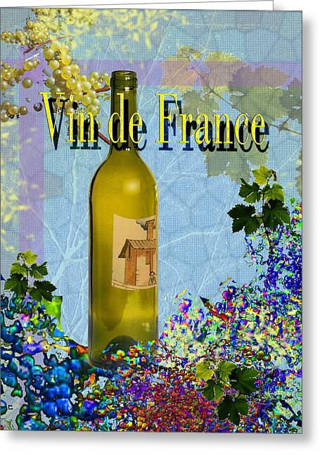 Toasting Digital Art Greeting Cards - Vin de France #3 of 4 Greeting Card by Tony Marquez