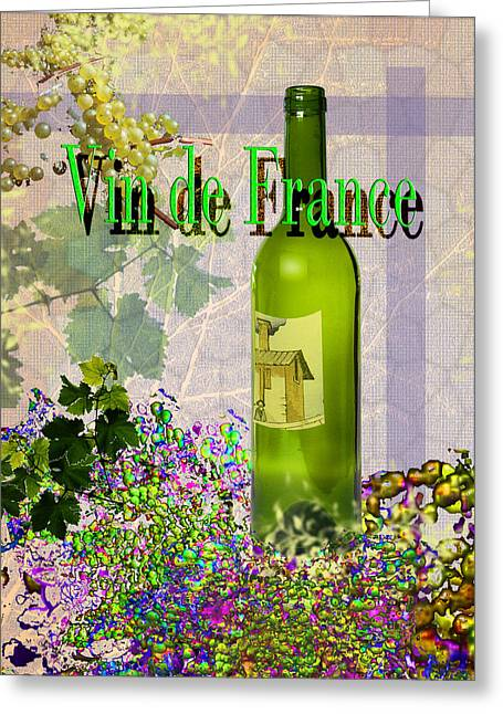Toasting Digital Art Greeting Cards - Vin de France #4 of 4 Greeting Card by Tony Marquez