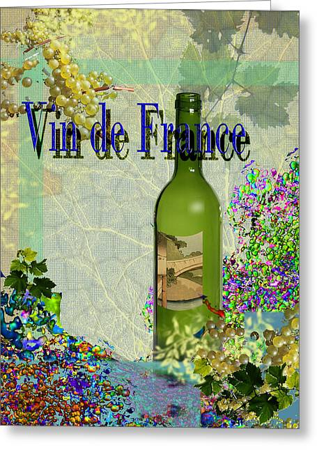 Toasting Digital Art Greeting Cards - Vin de France#2 of 4 Greeting Card by Tony Marquez