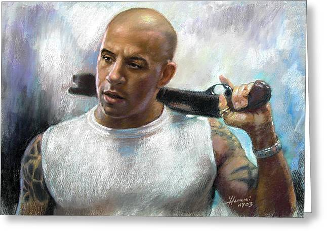 Furious Greeting Cards - Vin Diesel Greeting Card by Ylli Haruni