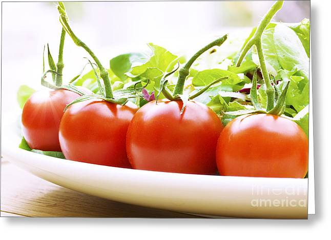 Romaine Greeting Cards - Vine tomatoes on a salad plate Greeting Card by Simon Bratt Photography LRPS