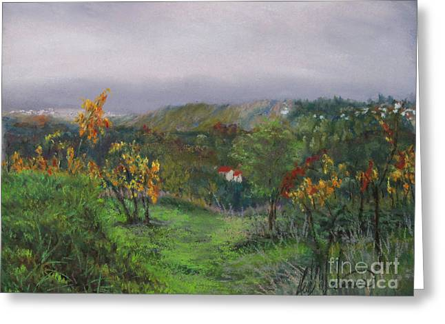 Italian Landscape Pastels Greeting Cards - Vineyard Path Greeting Card by Leah Wiedemer