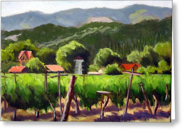 Calistoga Paintings Greeting Cards - Vineyard Temple Greeting Card by Char Wood