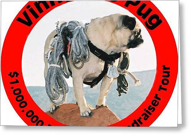Brigade Greeting Cards - Vinny the Pugs Official Pet Rescue Fundraiser Seal Greeting Card by Allen Kimble jr