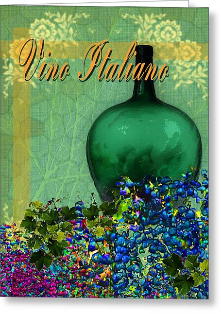 Toasting Digital Art Greeting Cards - Vino Italiano #1 of 4 Greeting Card by Tony Marquez