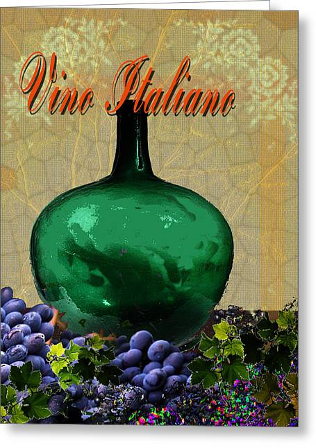 Toasting Digital Art Greeting Cards - Vino Italiano #2 of 4 Greeting Card by Tony Marquez