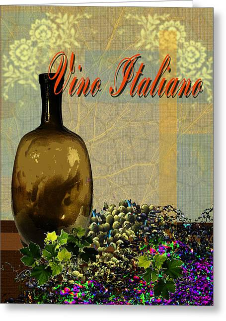 Toasting Digital Art Greeting Cards - Vino Italiano #3 of 4 Greeting Card by Tony Marquez
