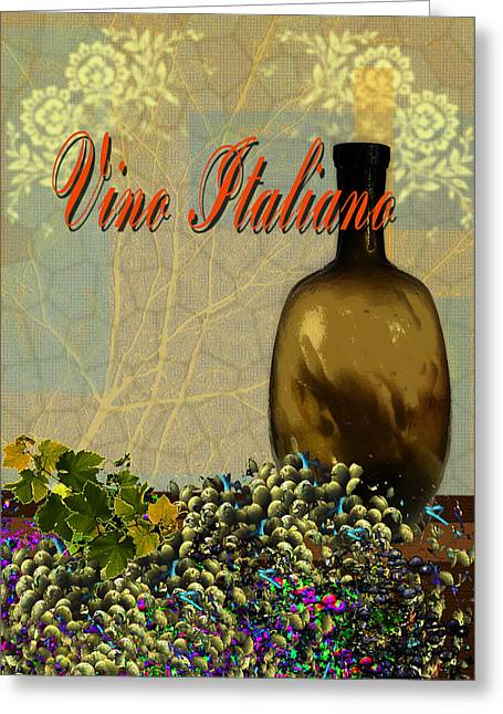 Toasting Digital Art Greeting Cards - Vino Italiano #4 of 4 Greeting Card by Tony Marquez
