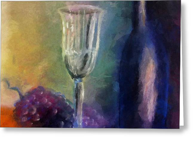 Glass Table Reflection Digital Art Greeting Cards - Vino Greeting Card by Michelle Calkins