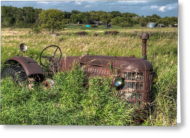 Saskatchewan Prairies Greeting Cards - Vintage - Massey Harris Tractor Greeting Card by Matt Dobson