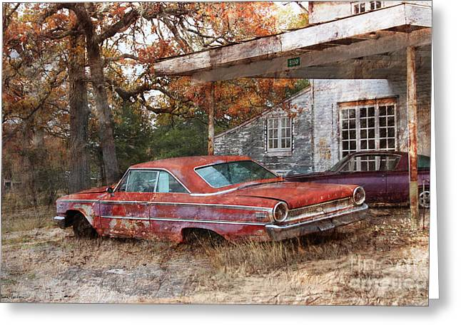 Svetlana Novikova Digital Art Greeting Cards - Vintage 1950 1960 Ford Galaxy red car photo Greeting Card by Svetlana Novikova
