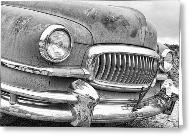 1951 Greeting Cards - Vintage 1951 Nash Ambassador Front End 2 BW Greeting Card by James BO  Insogna