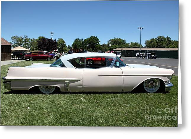 Caddy Greeting Cards - Vintage 1957 Cadillac . 5D16686 Greeting Card by Wingsdomain Art and Photography
