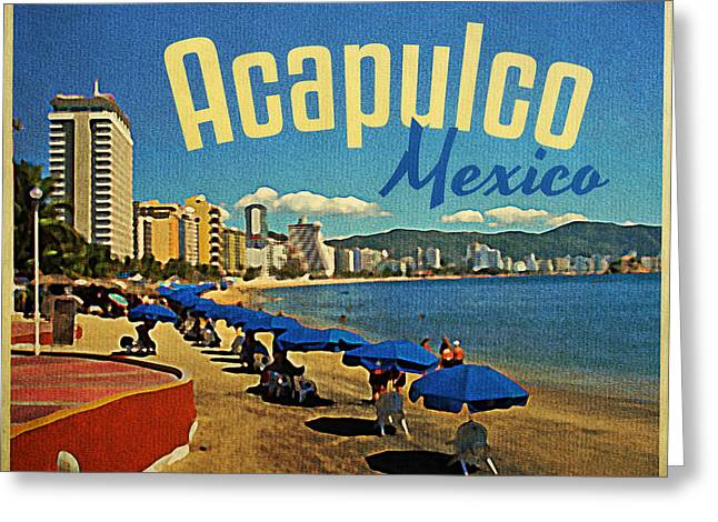 Acapulco Greeting Cards - Vintage Acapulco Mexico Greeting Card by Flo Karp