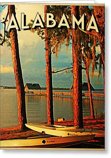 Alabama Greeting Cards - Vintage Alabama Orange Beach Greeting Card by Flo Karp