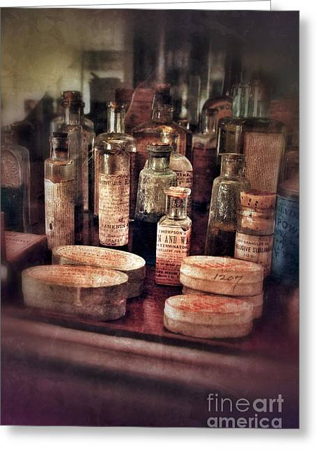 Ointment Greeting Cards - Vintage Apothecary Bottles Greeting Card by Jill Battaglia