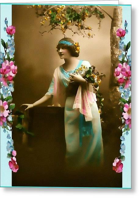 Vintage Aqua Greeting Card by Mary Morawska