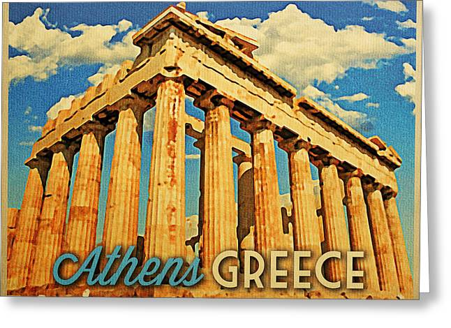Athens Greeting Cards - Vintage Athens Greece Parthenon Greeting Card by Flo Karp