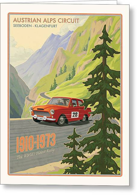 Mountain Road Greeting Cards - Vintage Austrian Rally Poster Greeting Card by Mitch Frey