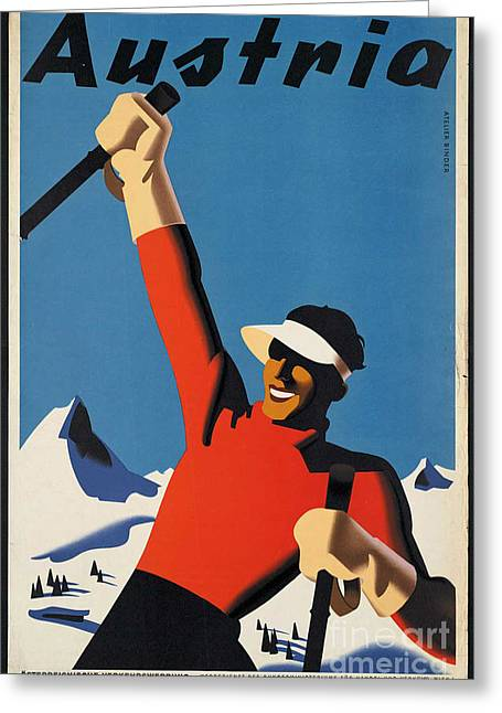 Skiing Posters Digital Art Greeting Cards - Vintage Austrian Skiing Travel Poster Greeting Card by George Pedro
