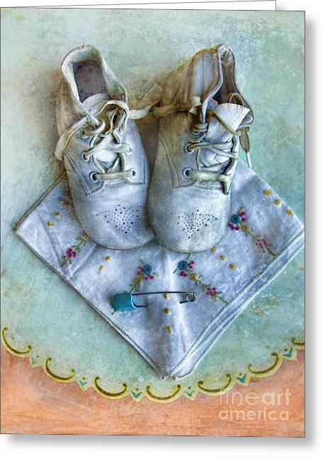 Diaper Greeting Cards - Vintage Baby Shoes and Diaper Pin on Handkercheif Greeting Card by Jill Battaglia